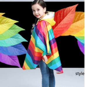 Rainbow children raincoat