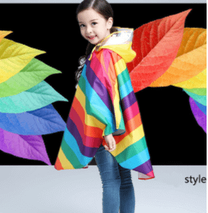 Rainbow children raincoat