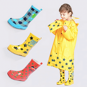 Colourful children rain boots